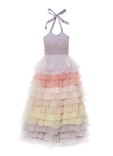 WATERFALL LONG TUTU DRESS - FOG