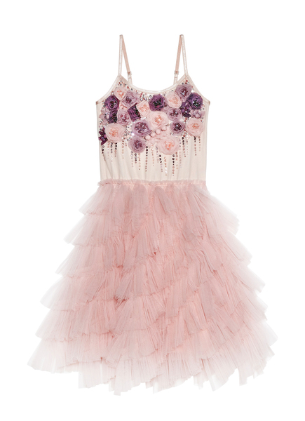 SMELL THE ROSES TUTU DRESS - MARSHMALLOW
