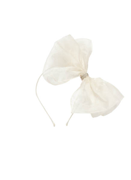 ALICE BOW SILK HEADBAND - MILK