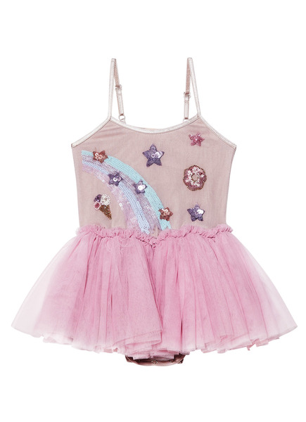 BÉBÉ - RAINBOW SWIRL TUTU DRESS - BUBBLEGUM