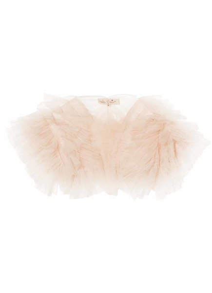FLOUNCY RUFFLE SHRUG - TEA ROSE