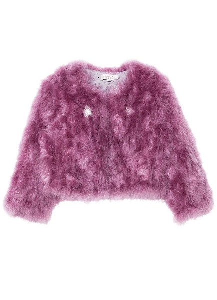 WINTER'S FIRE MARABOU JACKET - ROYAL ORCHID
