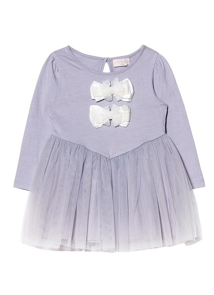 BÉBÉ - BOW TALES L/S DRESS - HAZE