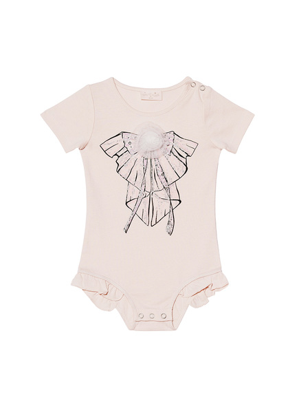 BÉBÉ - SWEET CLARITY S/S ONESIE - TEA ROSE