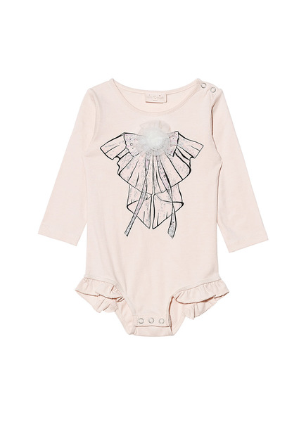 BÉBÉ - SWEET CLARITY L/S ONESIE - TEA ROSE