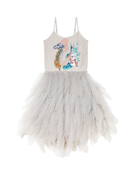 SPLASHING SEA DRAGON TUTU DRESS - SILVER