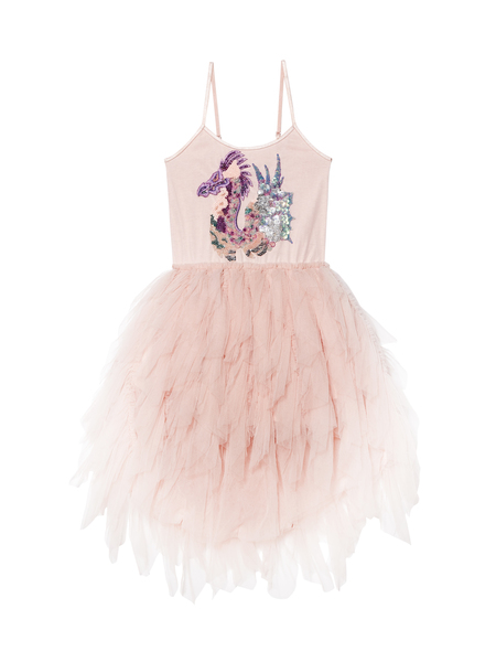 SPLASHING SEA DRAGON TUTU DRESS - TEA ROSE