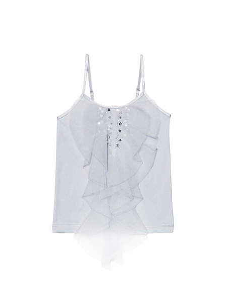 MAGIQUE RUFFLE SINGLET TOP - CRYSTAL BLUE