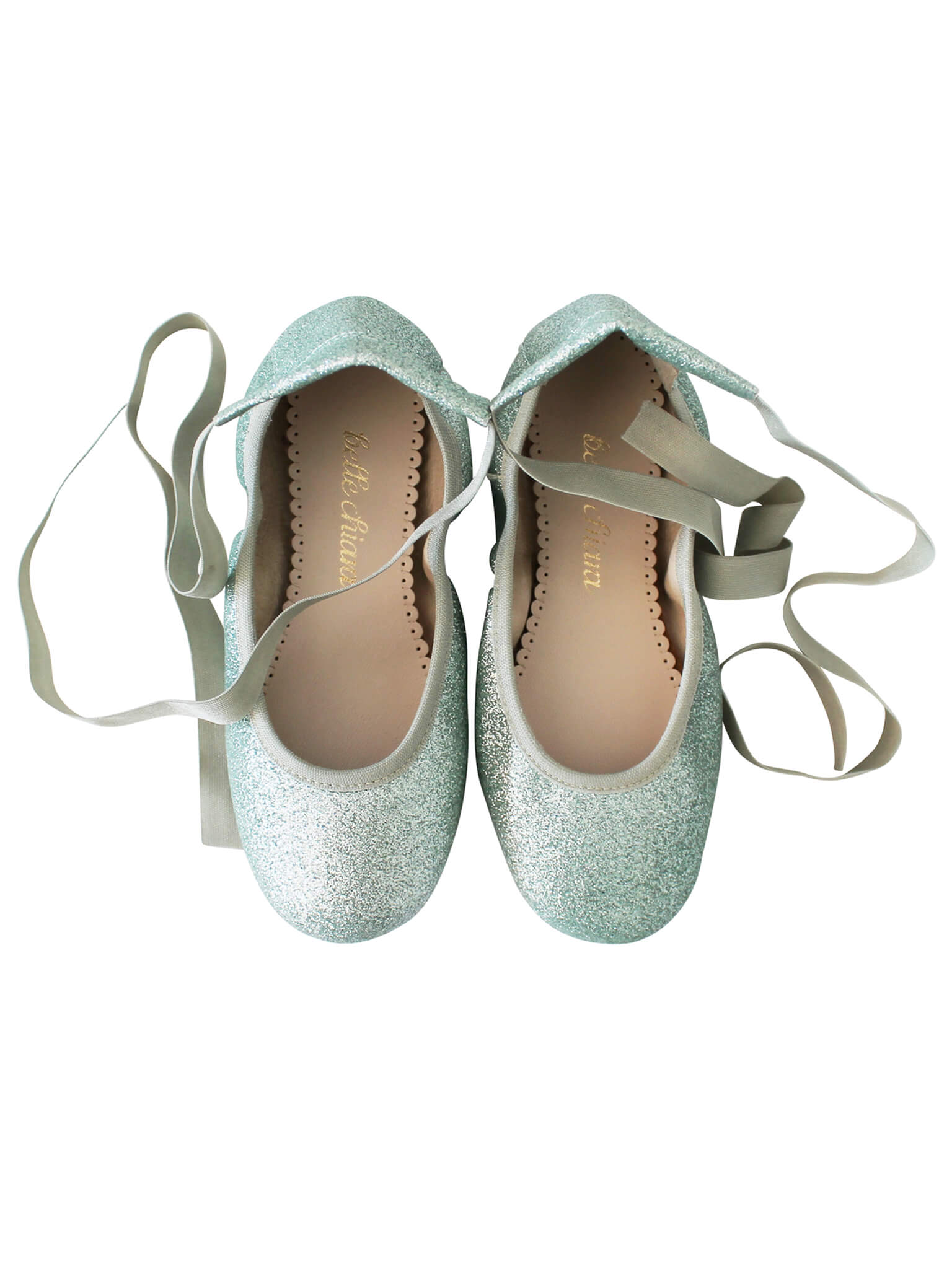 c6635164e76 BELLE CHIARA LEATHER BALLET FLATS - GLITTER - GREEN - Welcome to the ...