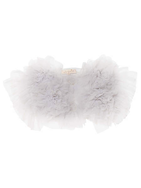 FLOWERETTE RUFFLE SHRUG - FRENCH SILVER