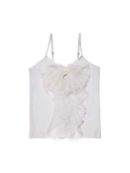 BELOVED RUFFLE TOP - FRENCH SILVER