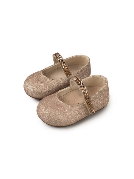 BÉBÉ - BABYWALKER SINGLE STRAP CRYSTAL EMBELLISHED METALLIC SANDALS - COPPER