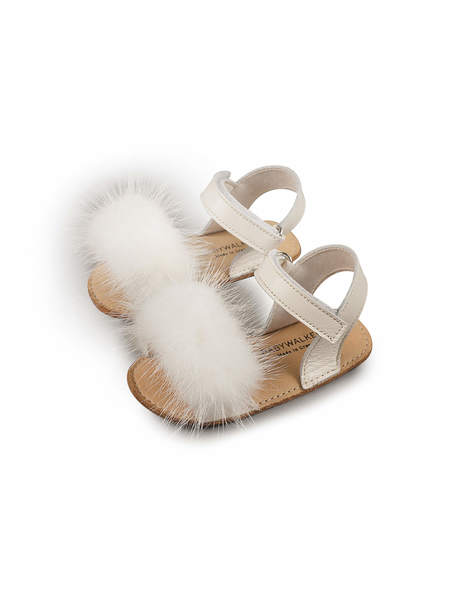 BÉBÉ - BABYWALKER MINK FUR EMBELLISHED LEATHER SANDALS - IVORY
