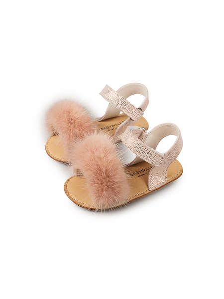 BABYWALKER MINK FUR EMBELLISHED LEATHER SANDALS - DUSTY PINK