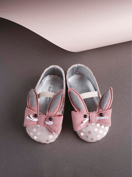 BABYWALKER RABBIT BOW EMBELLISHED DOT LEATEHER BALLERINAS - DUSTY PINK