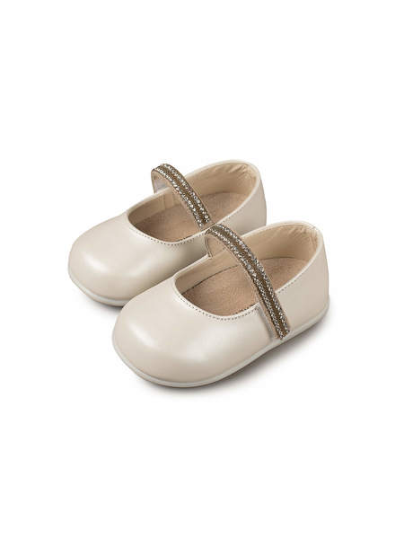 BÉBÉ - BABYWALKER SINGLE STRAP CRYSTAL EMBELLISHED BALLERINAS - IVORY