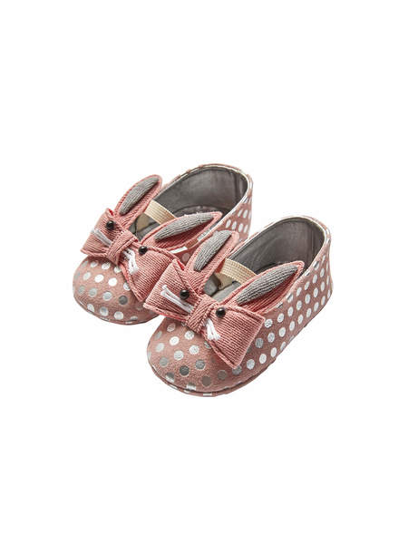BÉBÉ - RABBIT BOW EMBELLISHED LEATHER BALLERINAS - DUSTY PINK