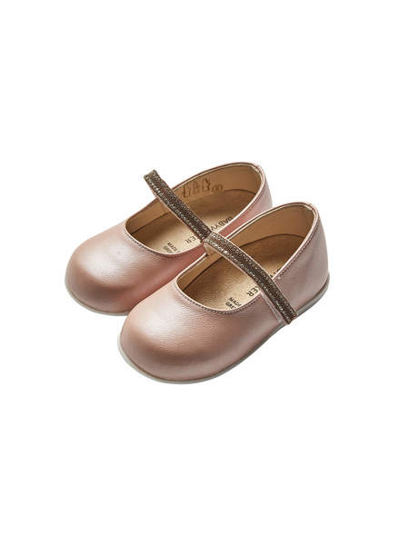 BÉBÉ - BABYWALKER SINGLE STRAP CRYSTAL EMBELLISHED BALLERINAS - DUSTY PINK