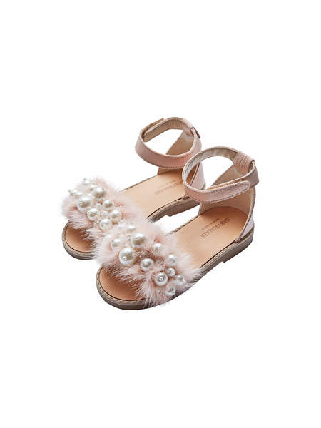BABYWALKER MINK AND PEARLS EMBELLISHED LEATHER SANDALS - NUDE