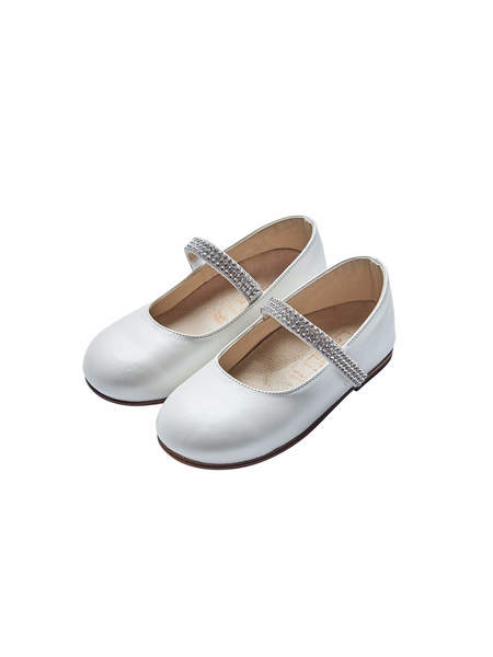 BABYWALKER SINGLE STRAP CRYSTAL EMBELLISHED BALLERINAS - IVORY
