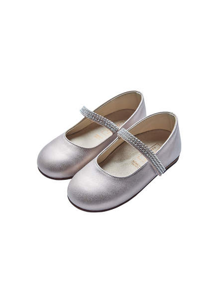 BABYWALKER SINGLE STRAP SWAROVSKI BALLERINAS - PEARL GREY